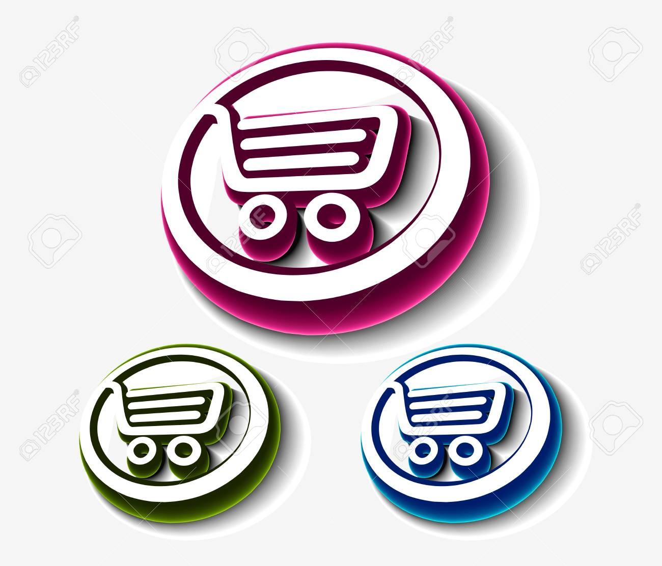 vector shopping cart set, includes three versions. Stock Vector - 8958261
