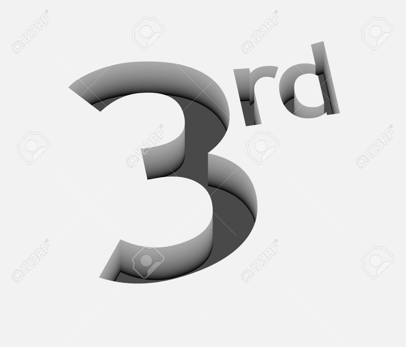 3d vector 3rd number design with isolated on white royalty free