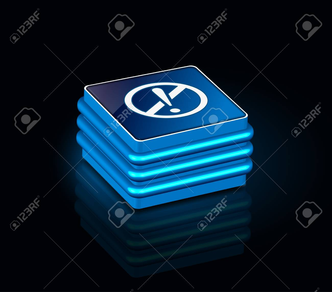 3d glossy attention icon, blue isolated on black background. Stock Vector - 8958355