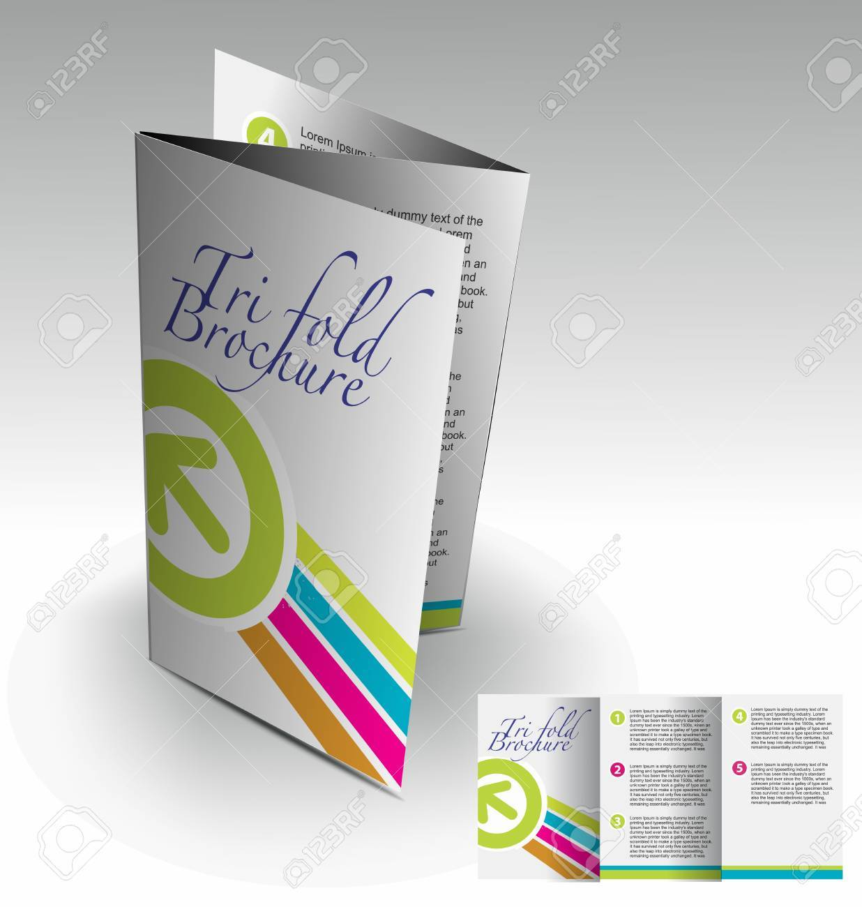 Tri-fold brochure design elemenr, vector illustartion. Stock Vector - 9027927