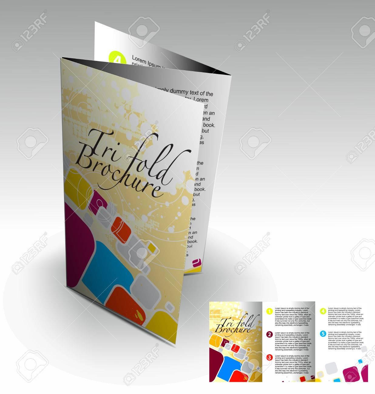 Tri-fold brochure design elemenr, vector illustartion. Stock Vector - 9027914
