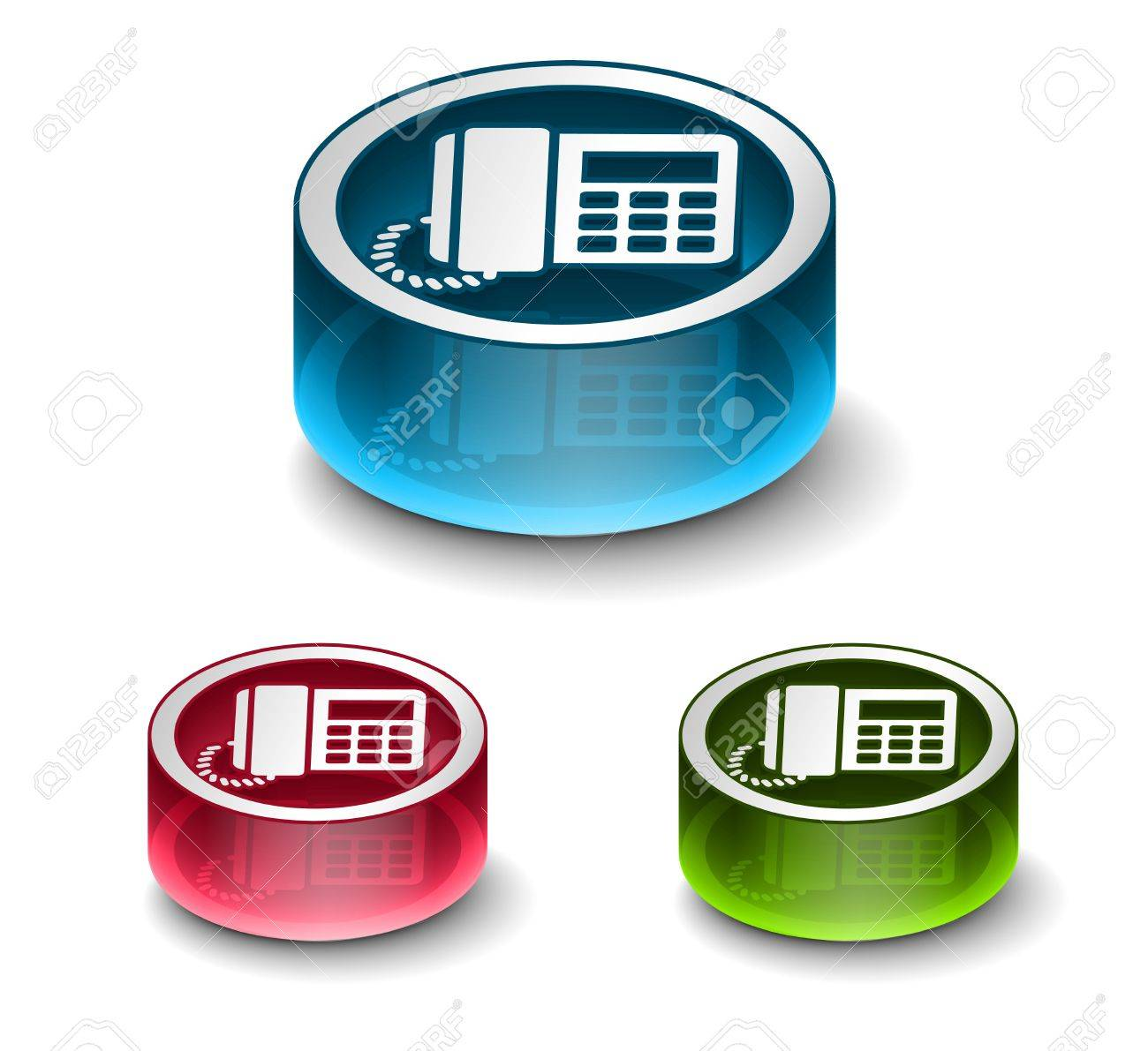 3d glossy phone icon, includes 3 color versions. Stock Vector - 9525268