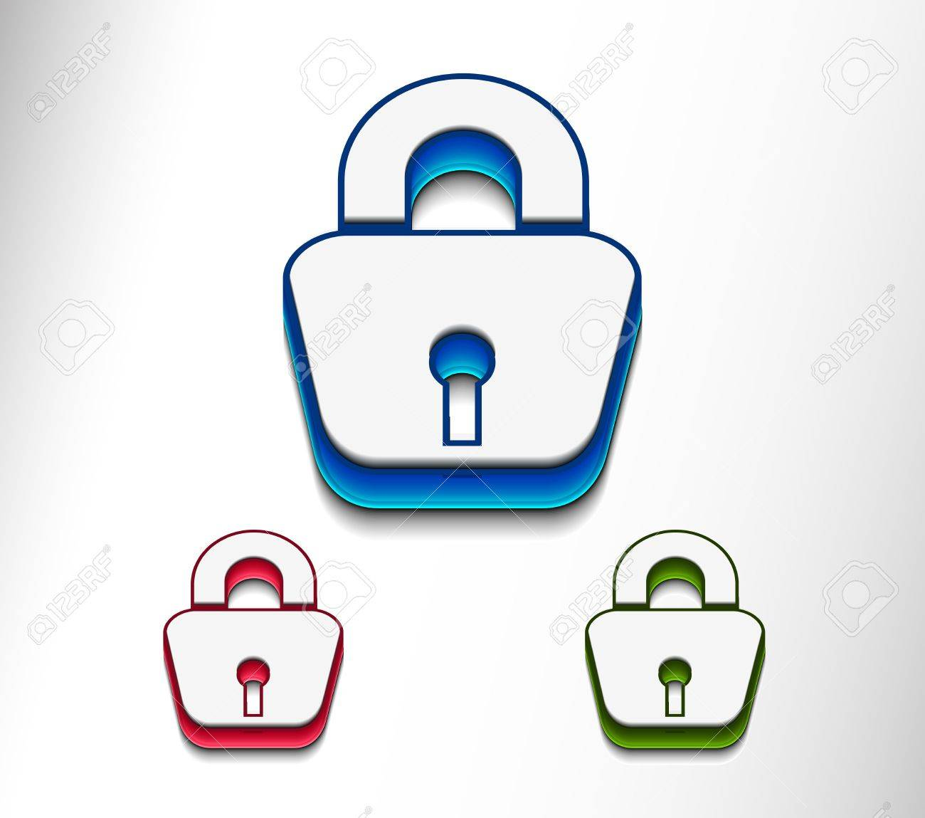 3d glossy lock icon, blue isolated on black background. Stock Vector - 9543023