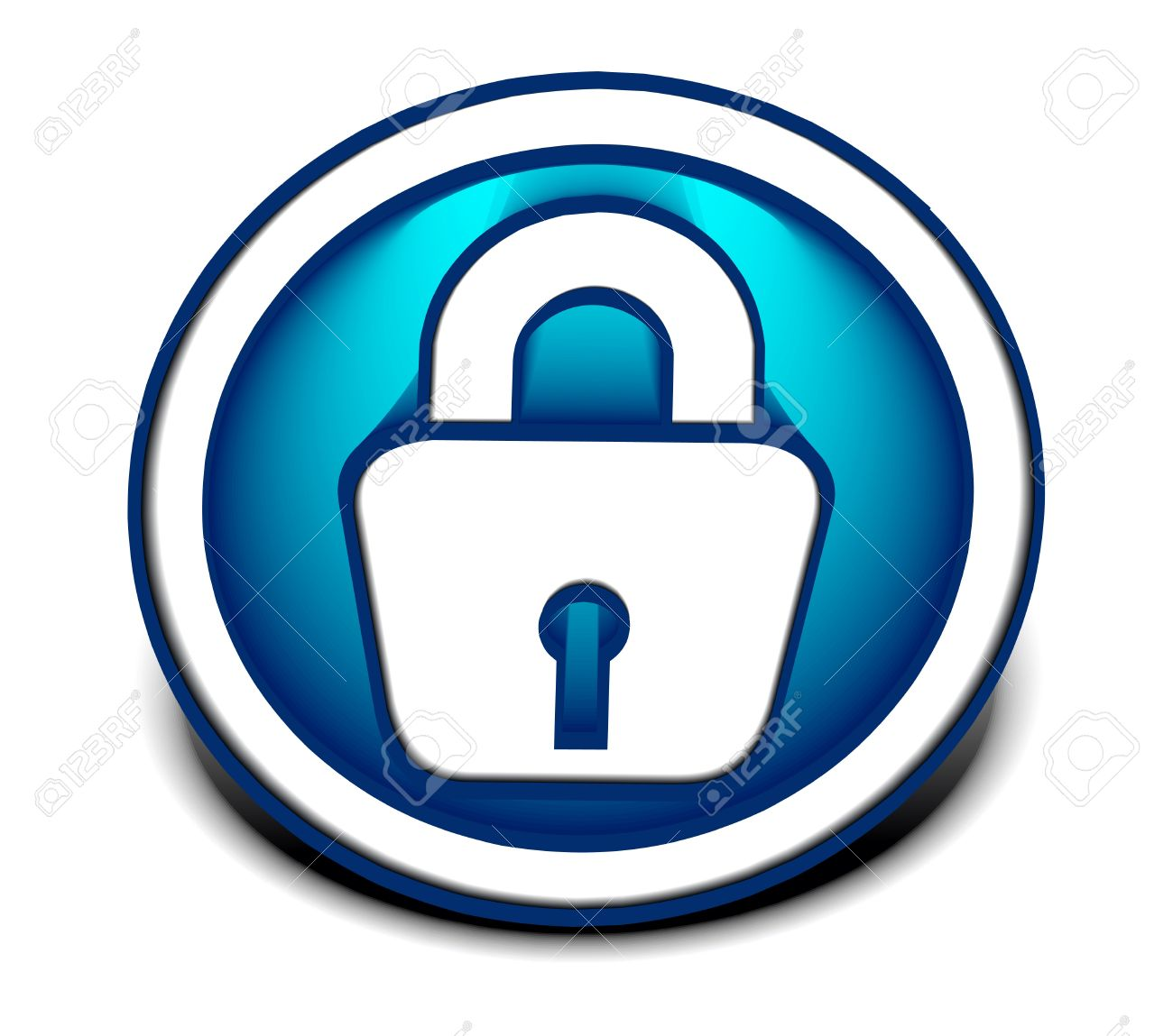 3d glossy lock icon, blue isolated on black background. Stock Vector - 9559386
