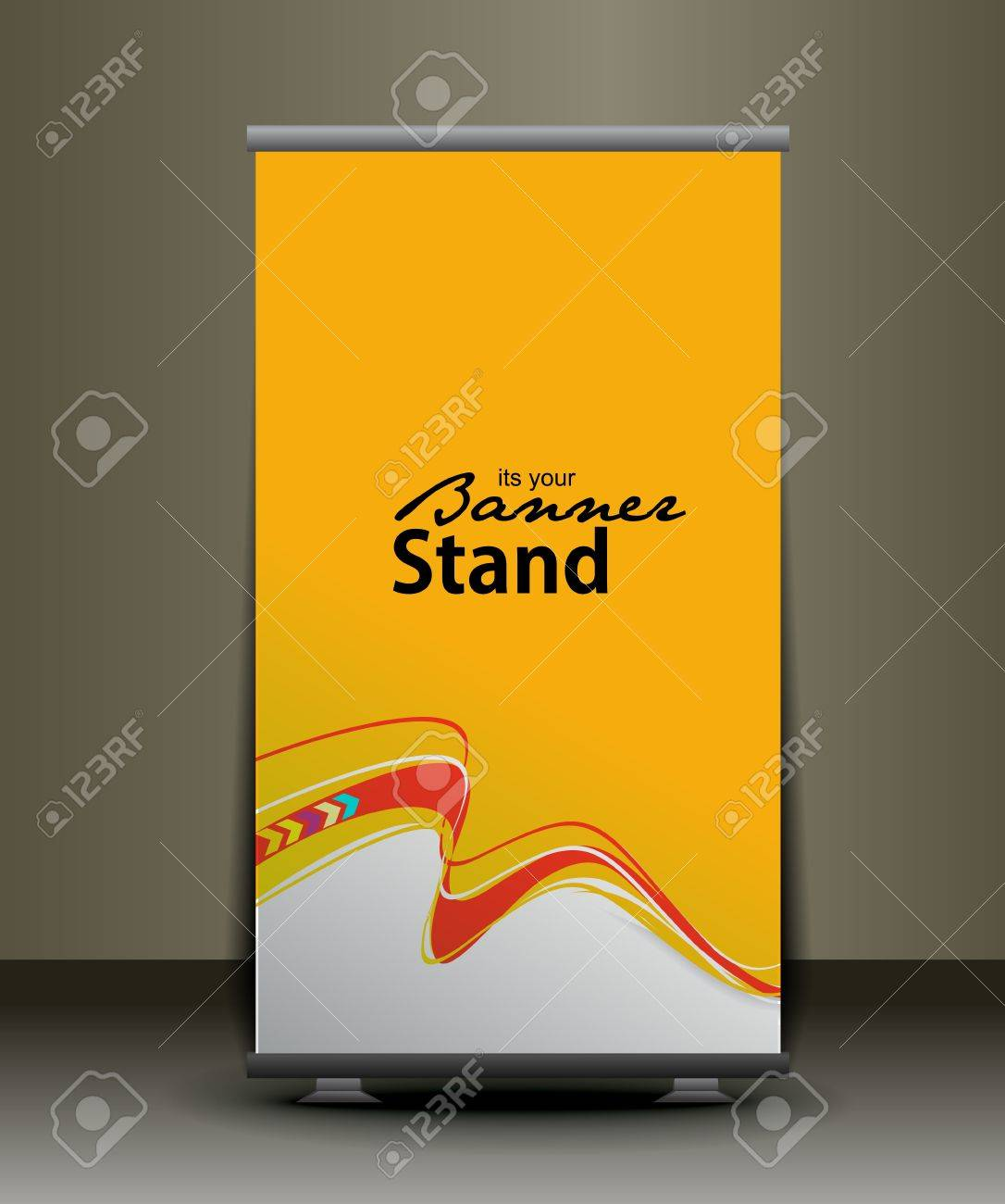 A Rolup Display With Stand Banner Template Design, Vector ...