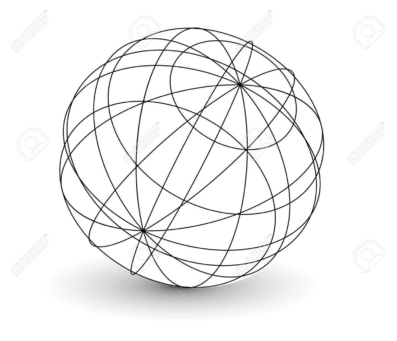Lovely Vector   Vector Wireframe Sphere Globe Illustration.