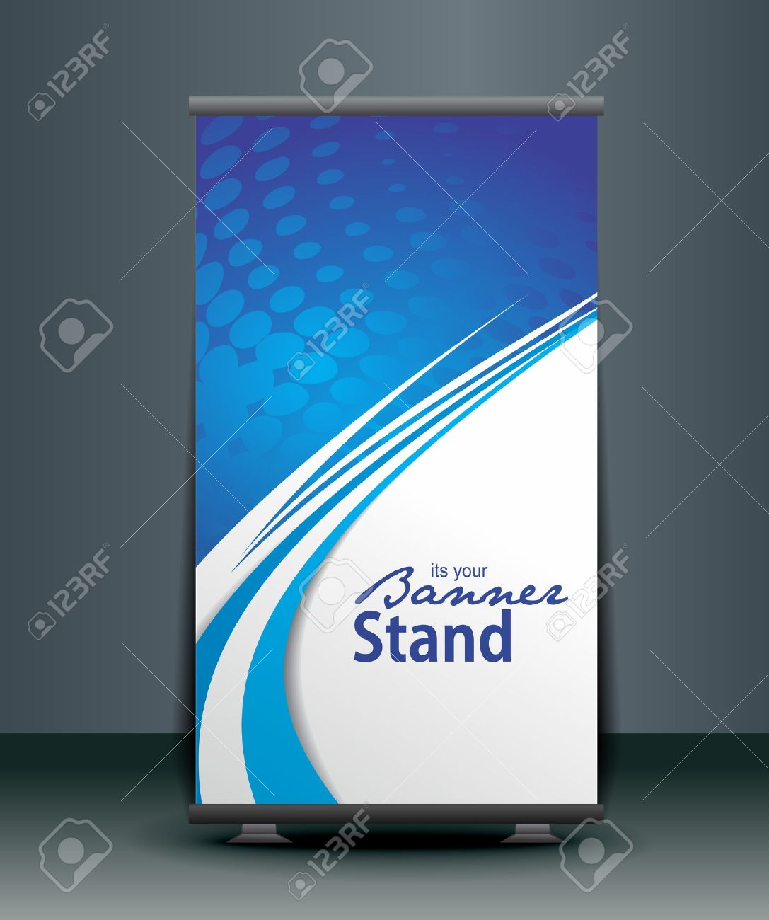 A Roll-up Display With Stand Banner Template Design, Vector ...