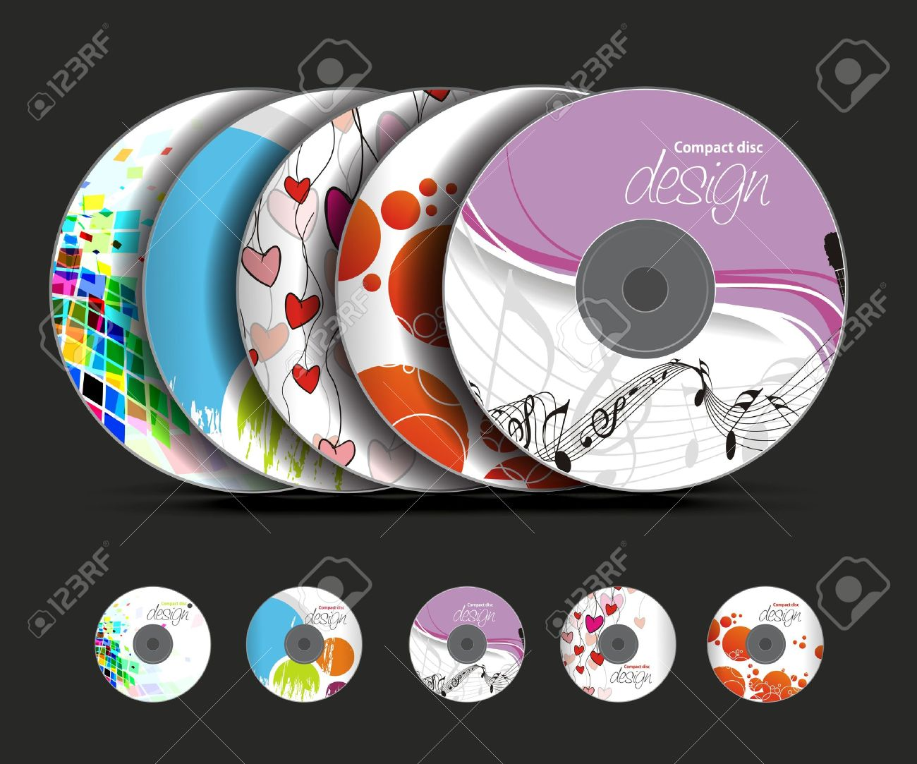 set of vector cd cover design template design royalty free cliparts