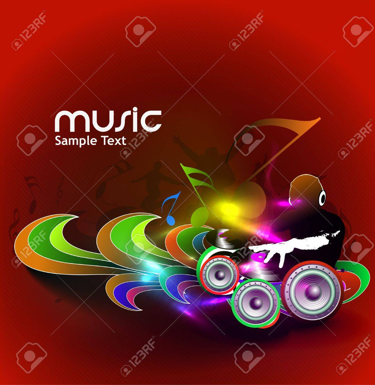 Abstract Illustration Of An Dj Man Playing Tunes With Music Note Background Stock Vector