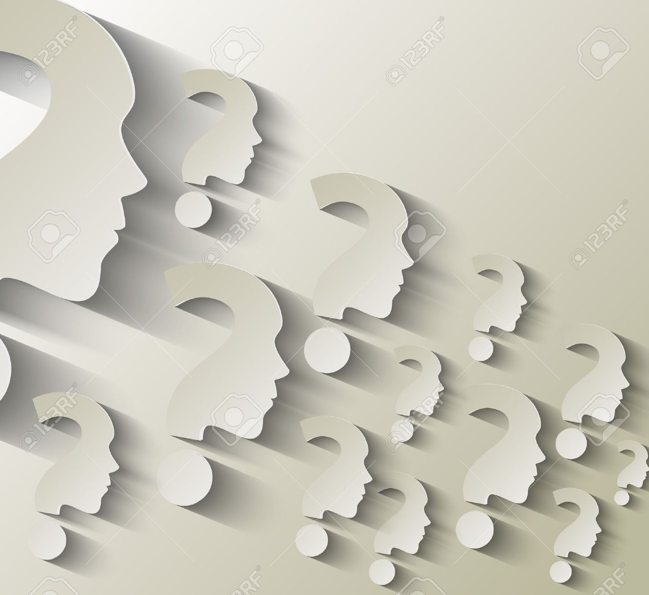 Human face with question mark illustration on white background Stock Vector - 18559322