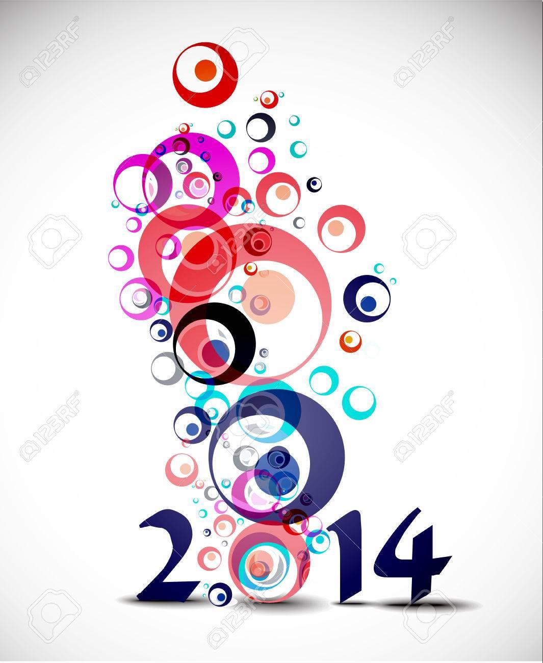 Happy New Year 2014 Circle Design Stock Vector - 24052114
