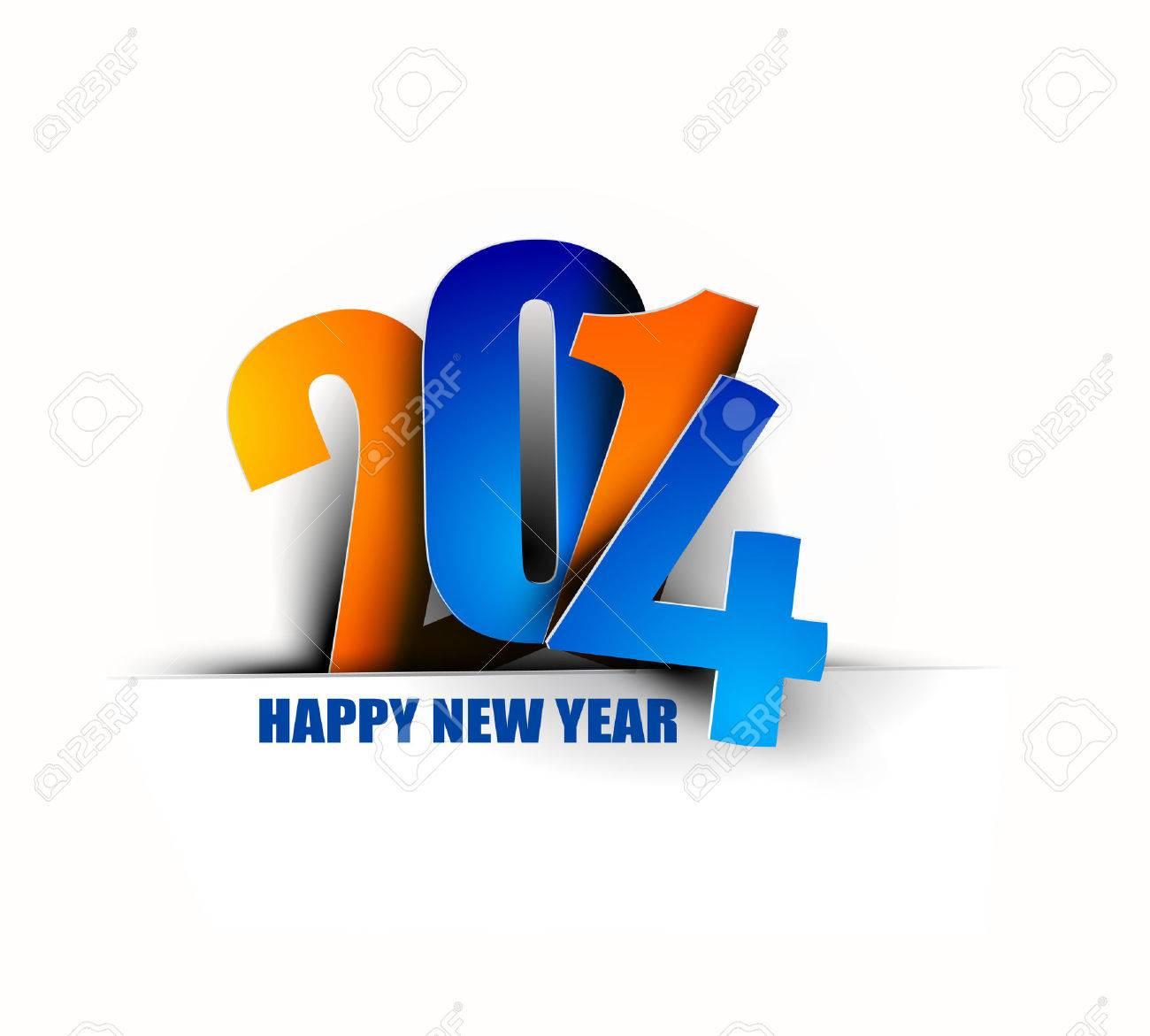 Happy New Year 2014 Text Design Stock Vector - 24052117
