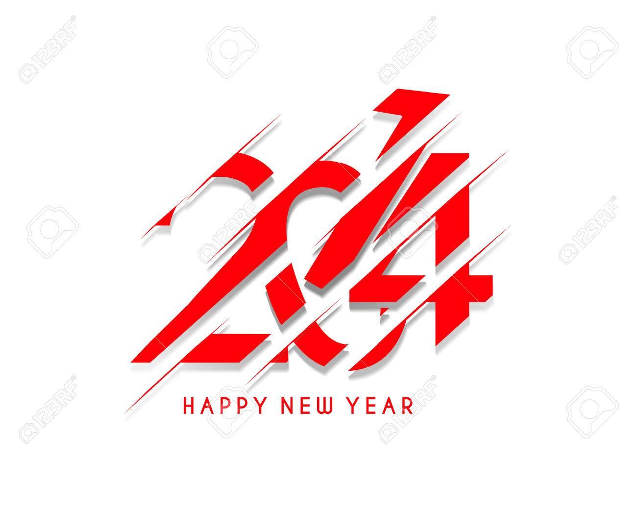 Happy New Year 2014 Text Design Stock Vector - 24052214