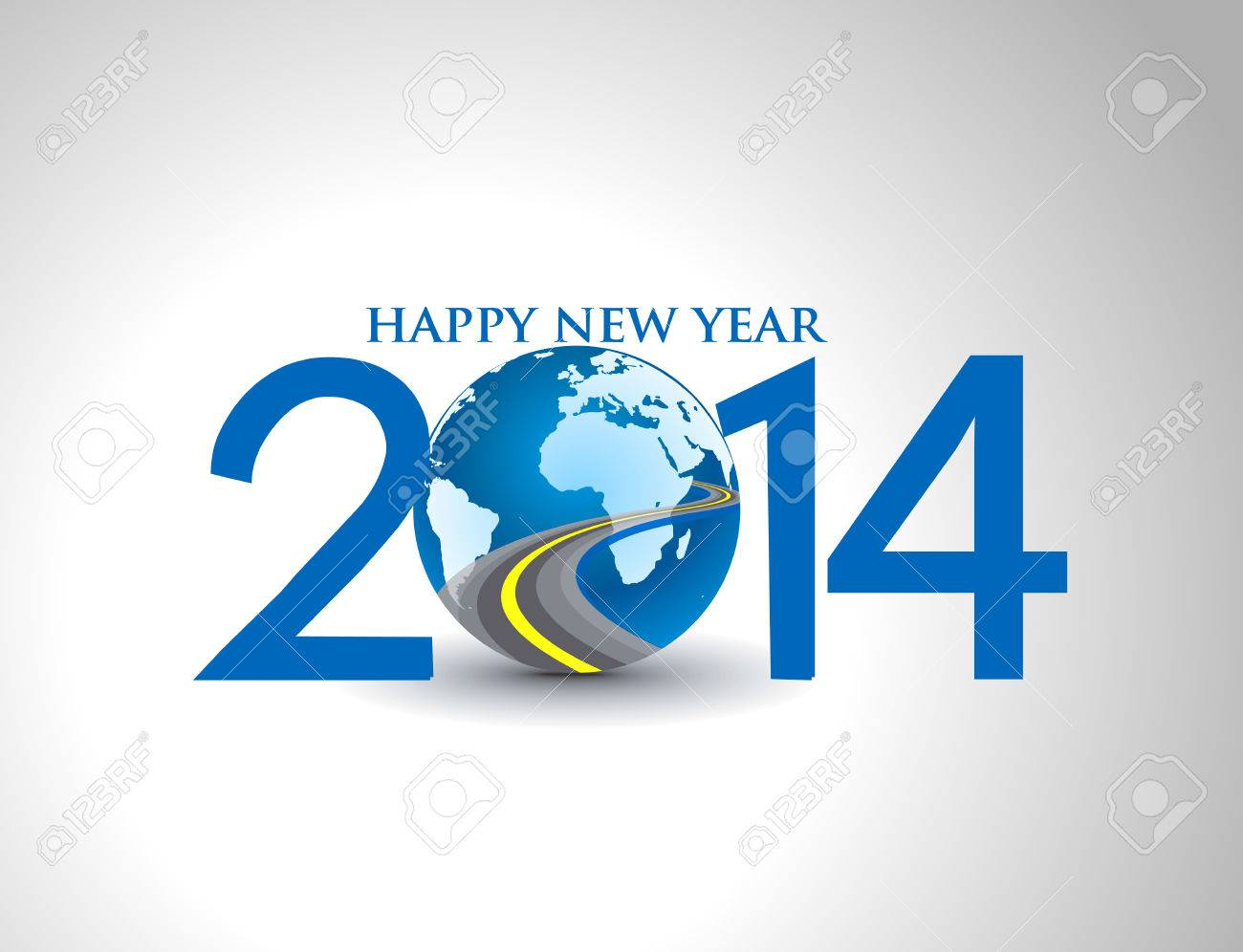 Happy New Year 2014 Text Design Stock Vector - 24052257
