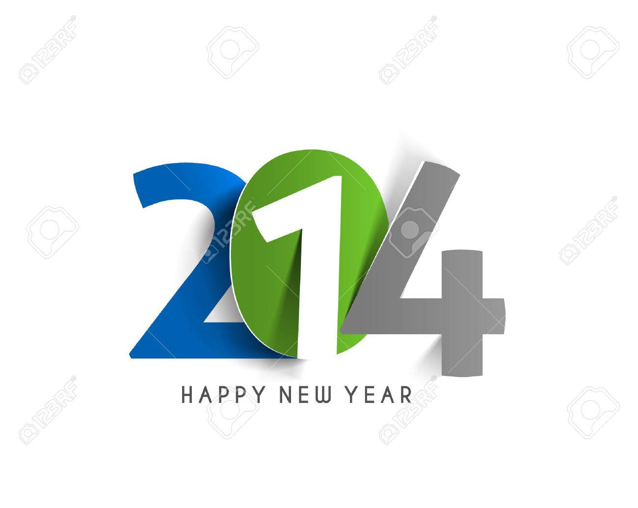 Happy New Year 2014 Text Design Stock Vector - 24102056