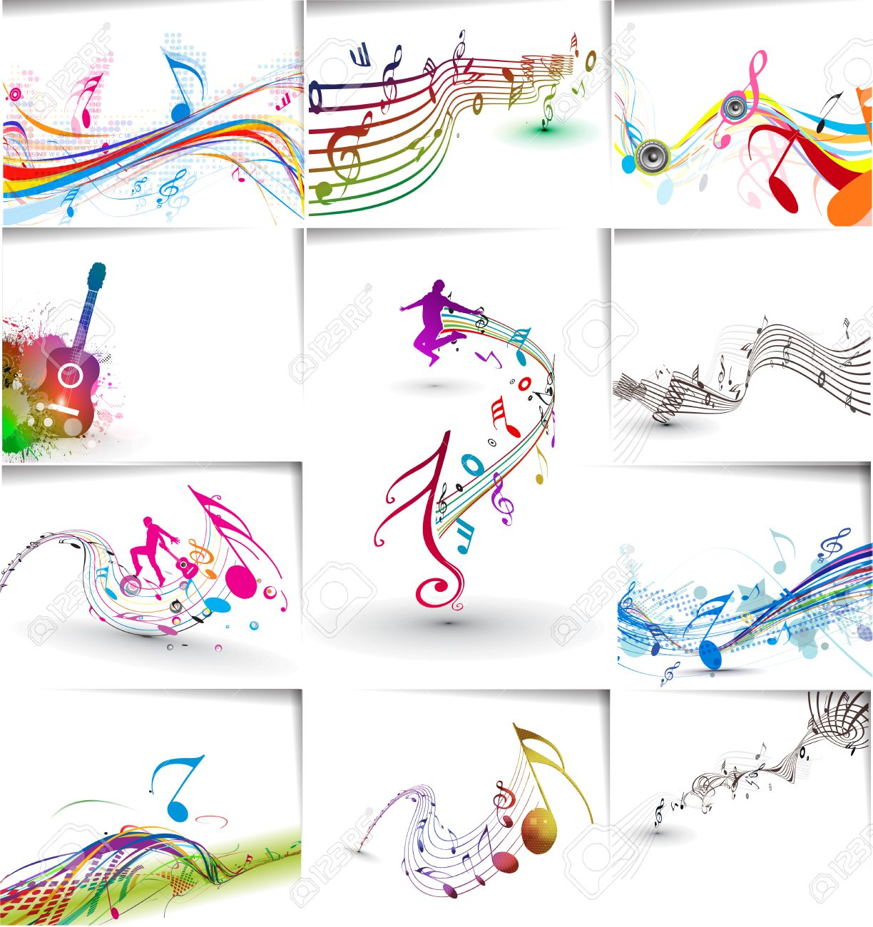 Music notes wave line for design use, vector illustration Stock Vector - 26374080