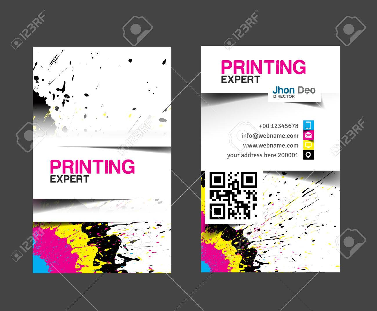 Cmyk printing business card set. Stock Vector - 26483334