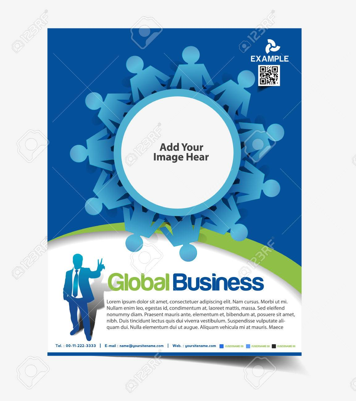 Global Business Flyer & Poster Template Design Stock Vector - 26530334