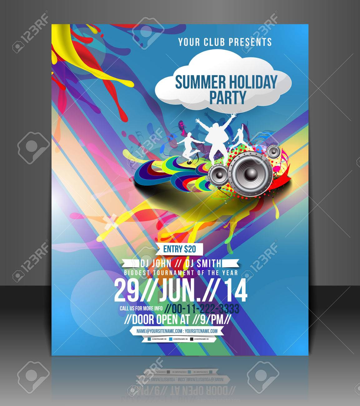 Music Party Flyer & Poster Template Design Stock Vector - 26704173