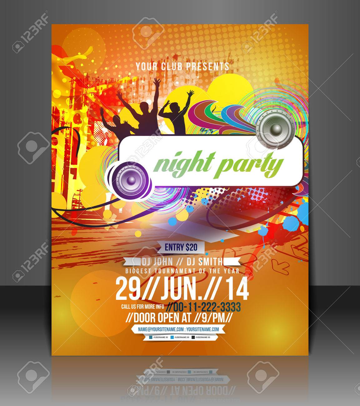 Poster design template free - Music Party Flyer Poster Template Design Stock Vector 26623002