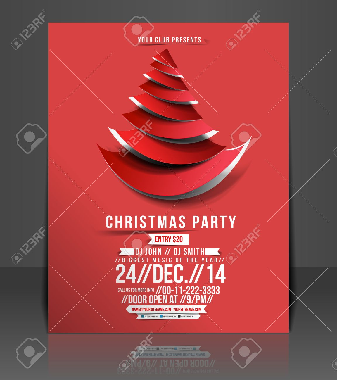 Christmas Party Flyer Template.Christmas Party Flyer Poster Template