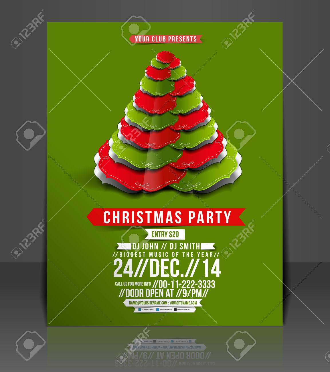 Free christmas poster design templates - Christmas Party Flyer Poster Template Stock Vector 26787697