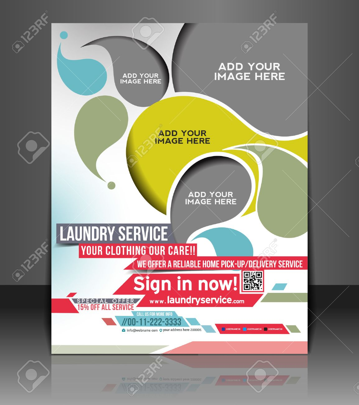 Poster design for free - Laundry Service Flyer Poster Template Design Stock Vector 26787704