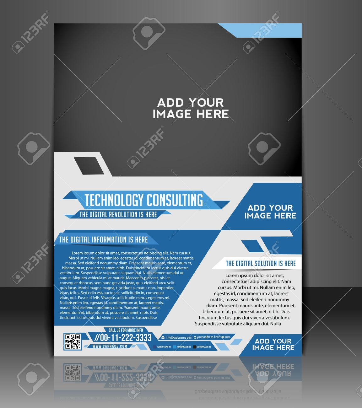Technology Consulting Flyer & Poster Template Design Stock Vector - 26824715