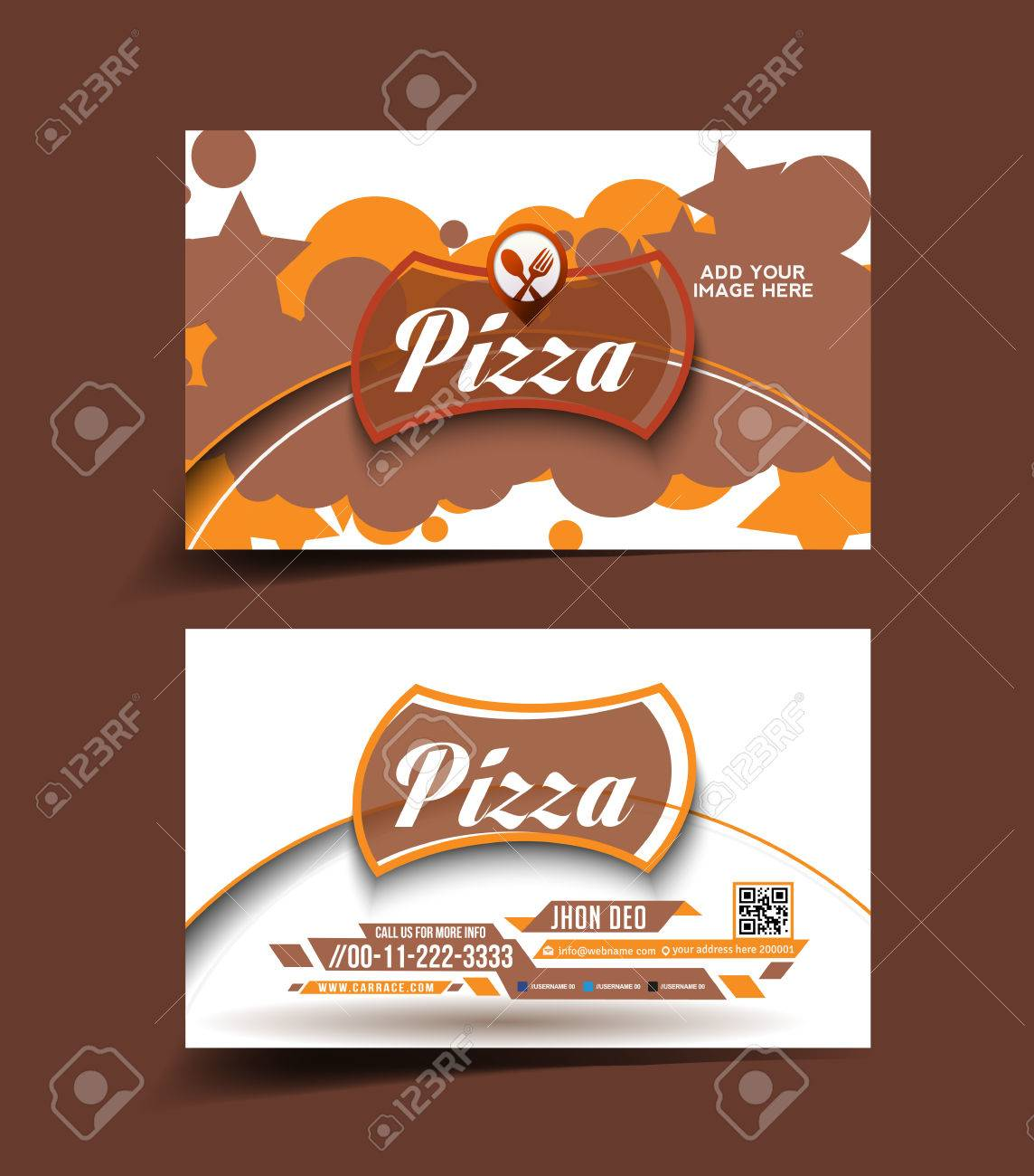 Pizza Store Business Card Set Royalty Free Cliparts, Vectors, And ...
