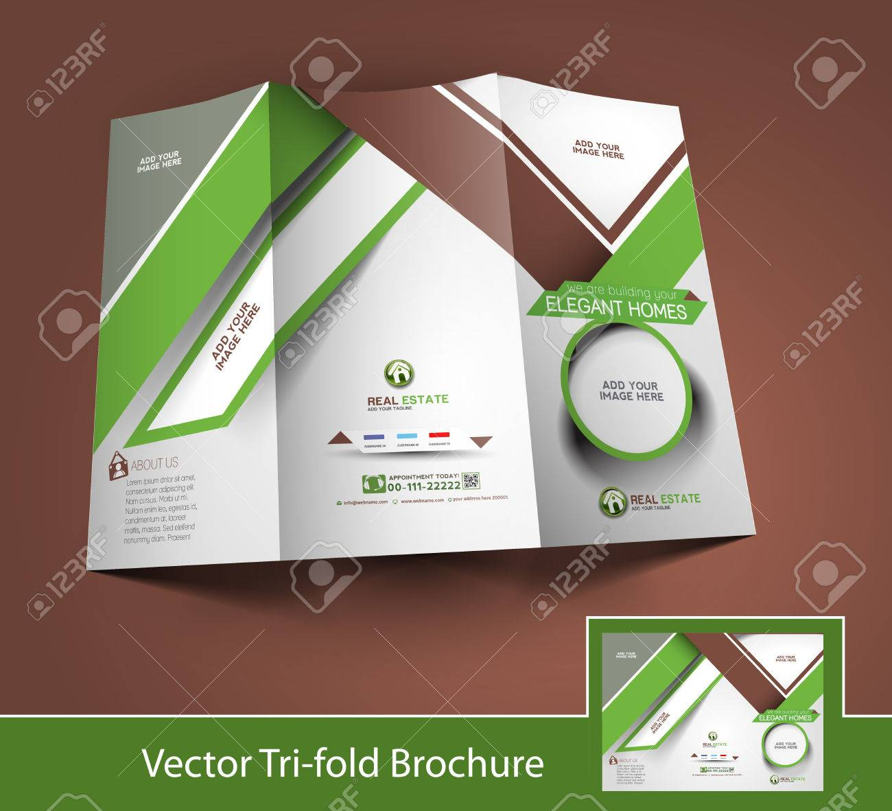 real estate tri fold mock up brochure design royalty free cliparts