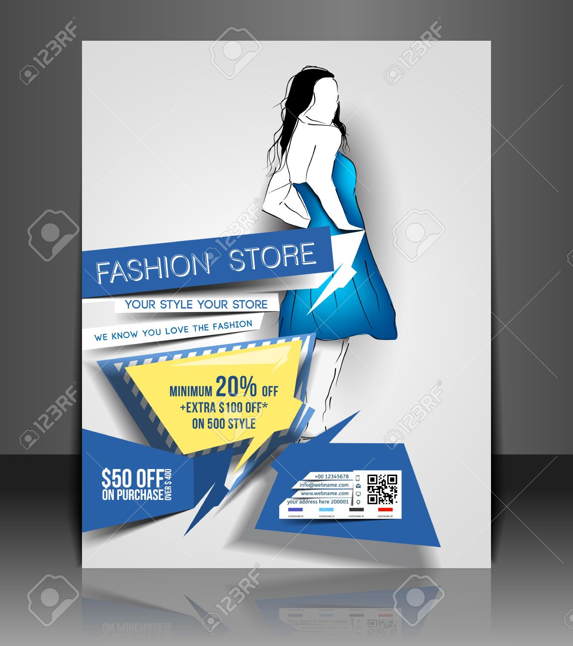 Fashion Store Flyer and Poster Template Design Royalty Free Cliparts – Fashion Poster Design