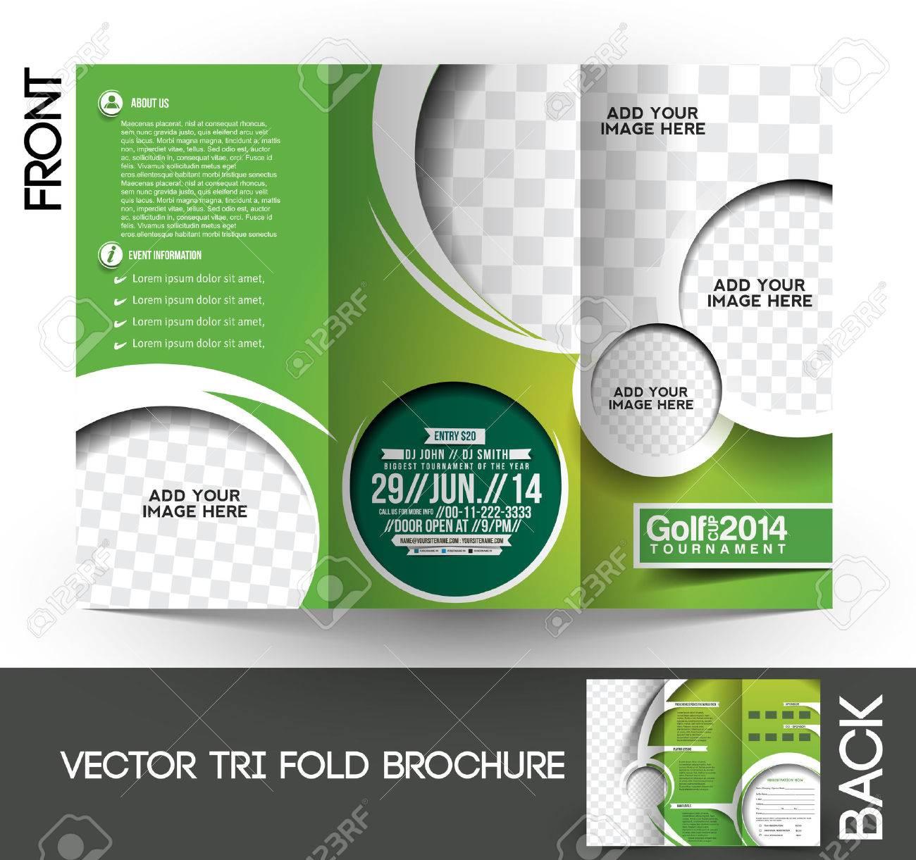 Golf Tournament Brochure | Tri Fold Golf Tournament Mock Up Brochure Design Royalty Free