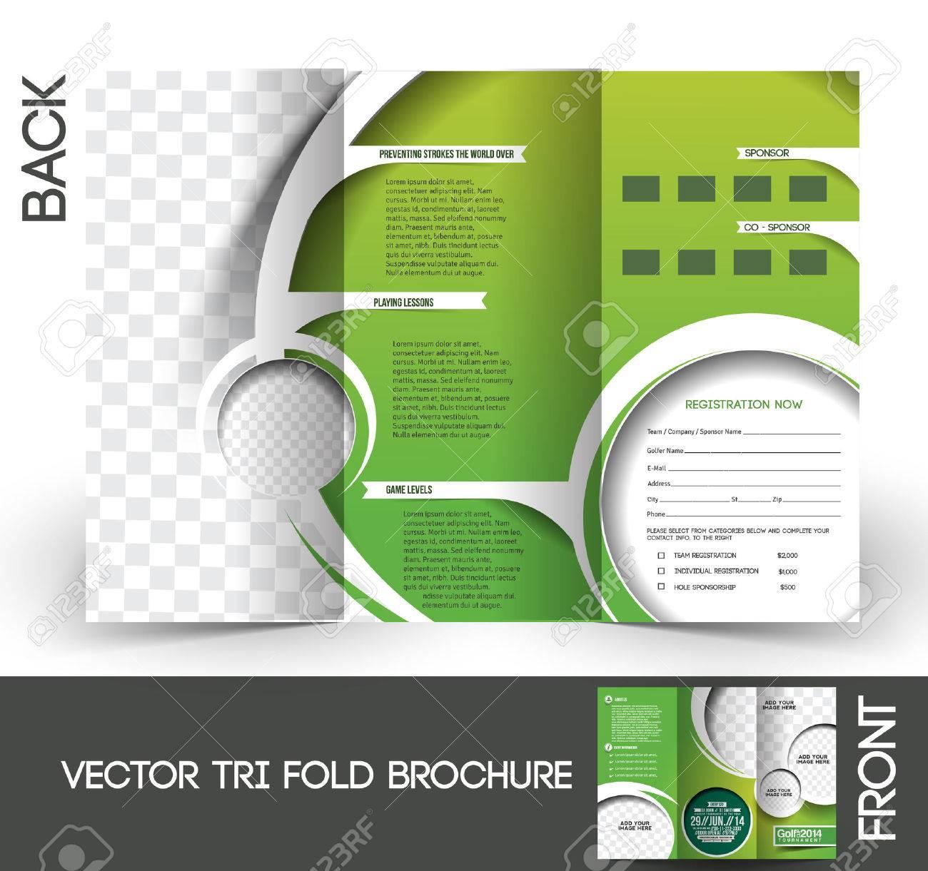 Tri-Fold Golf Tournament Mock up & Brochure Design Stock Vector - 27456453
