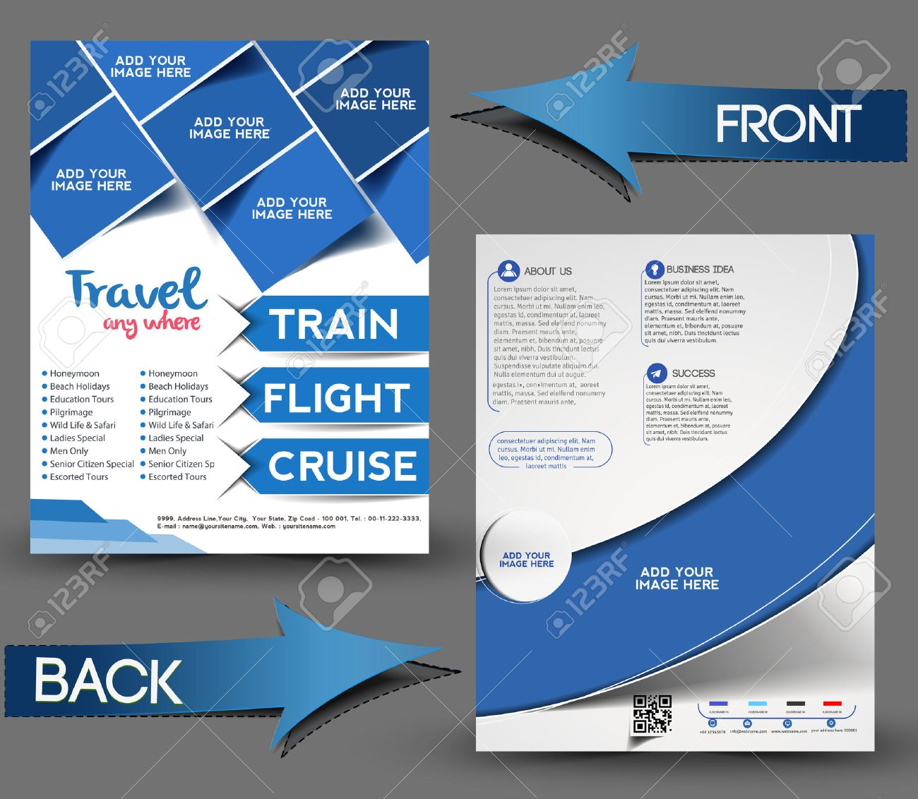 Travel Center Front & Back Flyer Template. Stock Vector - 28394250