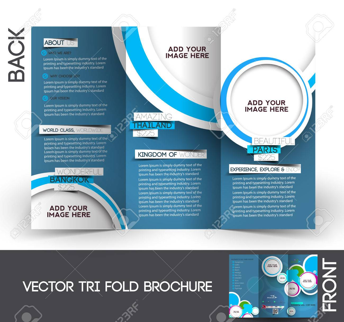travel tri fold mock up brochure design royalty free cliparts