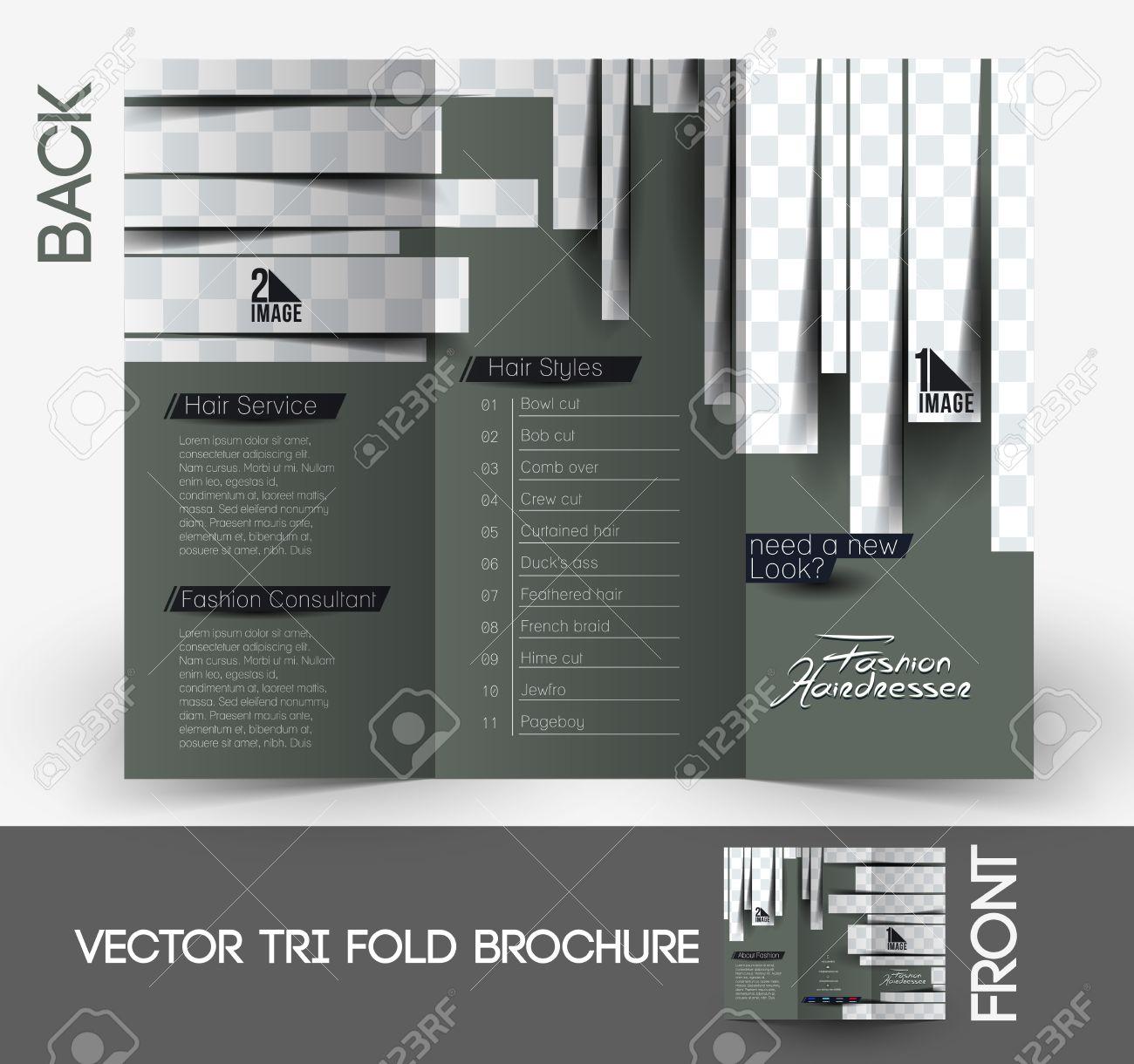 Friseur Salon & Tri-Fold Mock Up & Broschüre Design Lizenzfrei ...
