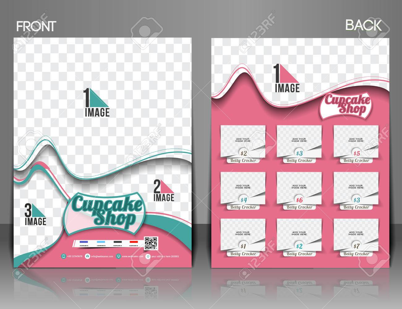 Cup Cake Shop Front Back Flyer Template Royalty Free Cliparts