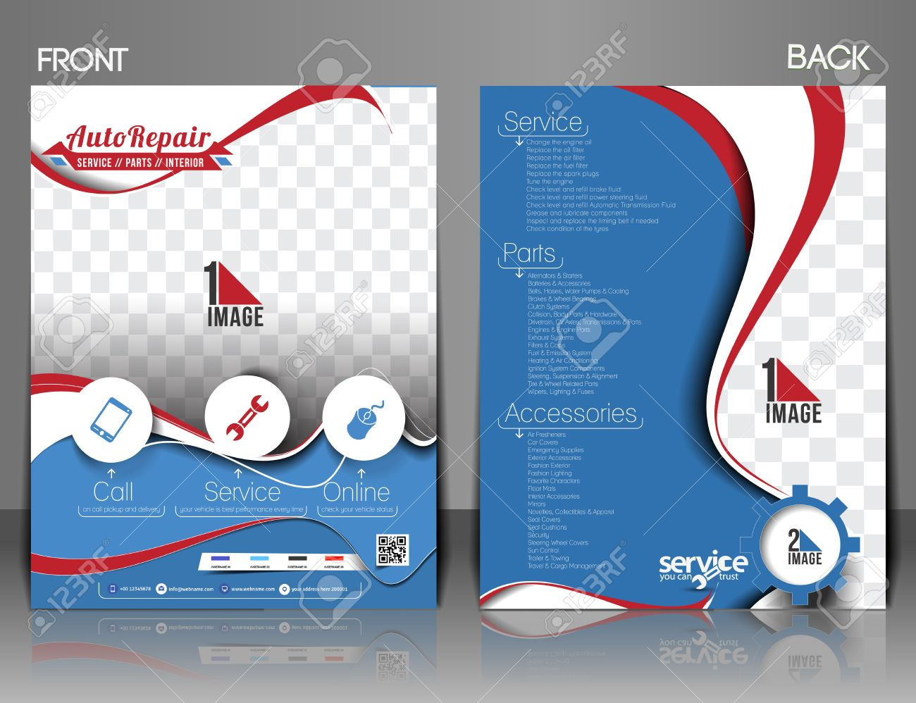 Automobile Center Front & Back Flyer, Magazine & Poster Template. Stock Vector - 31562693