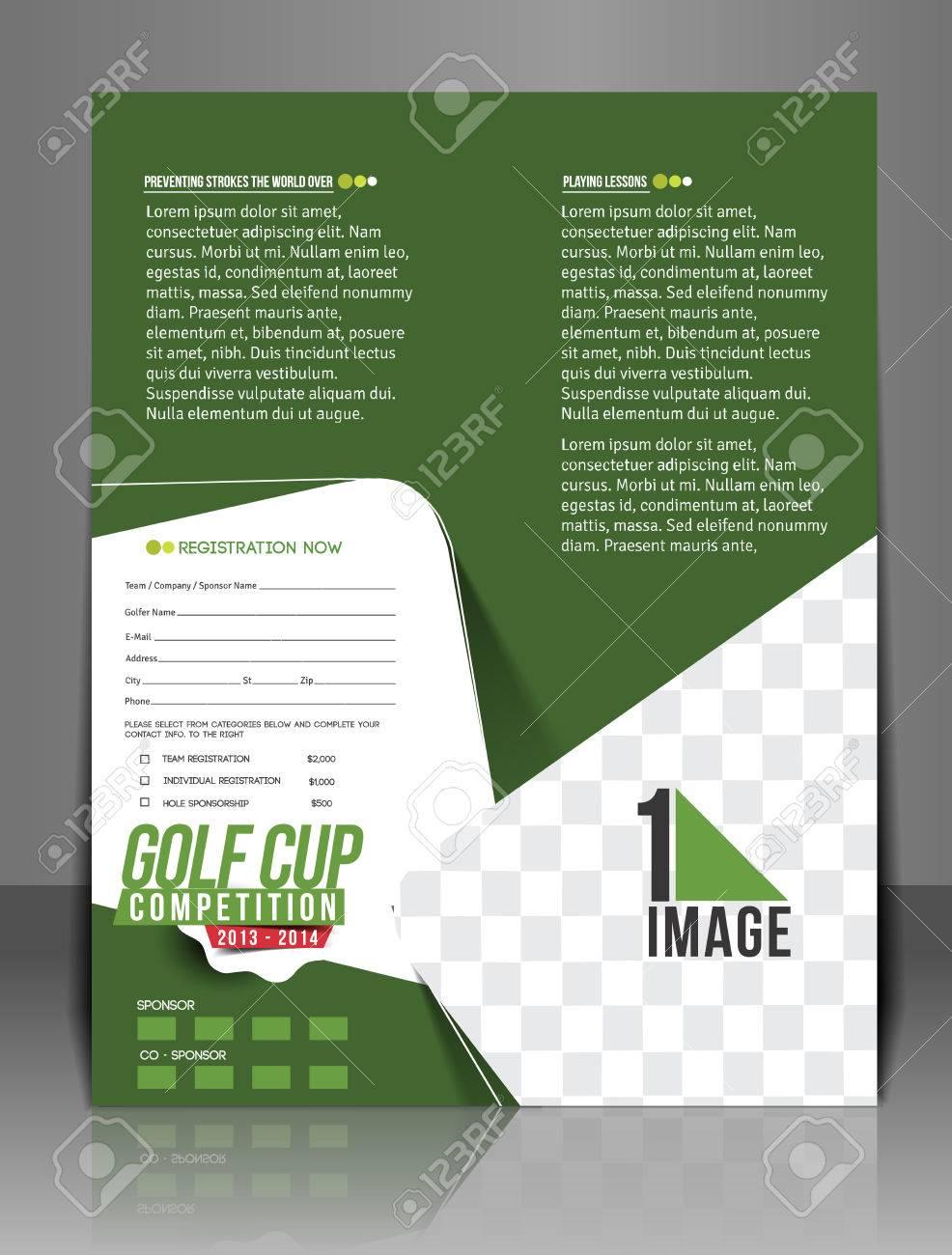 Golf Tournament Flyer Template Design Royalty Free Cliparts Vectors - Free golf tournament flyer template