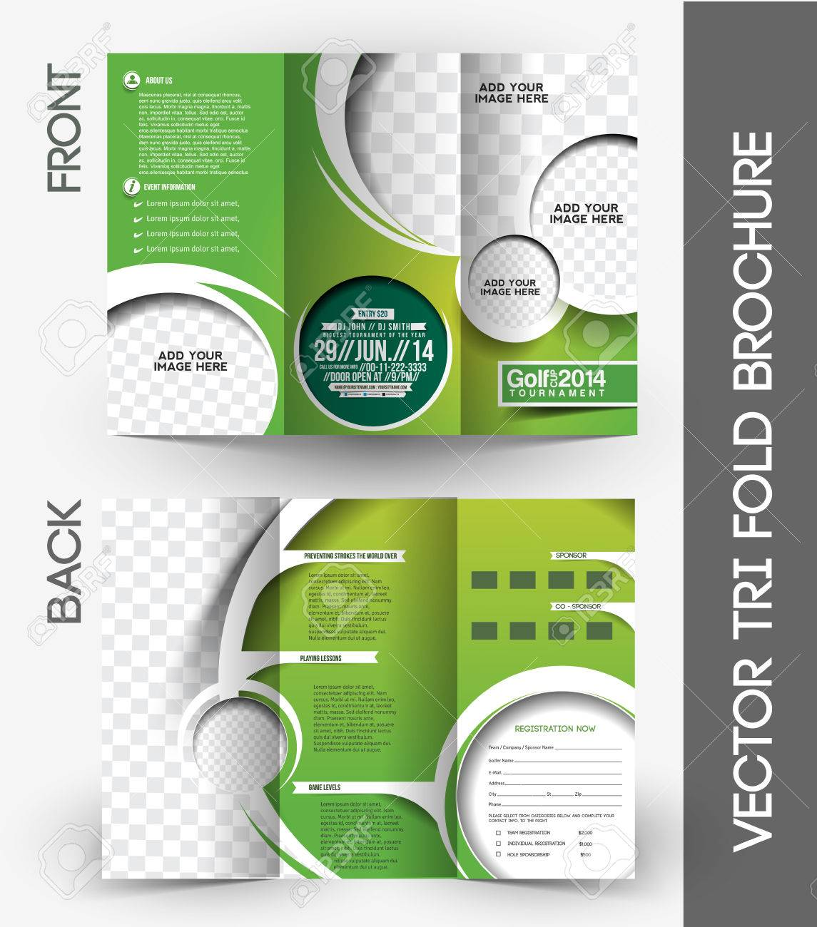 Golf Tournament Tri Fold Mock Up U0026 Brochure Design Stock Vector   38118228