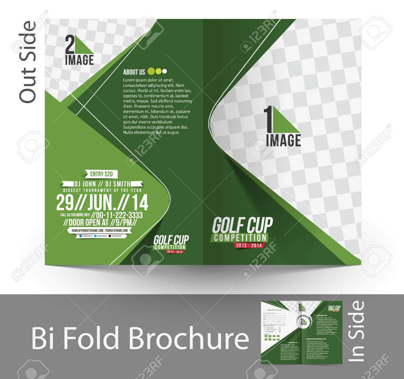 Delightful Golf Tournament Bi Fold Mock Up U0026 Brochure Design Stock Vector   38118236