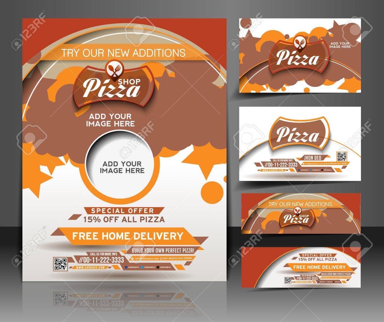 Bundle Of Pizza Shop Flyer, Business Card, Header & Banner Design ...
