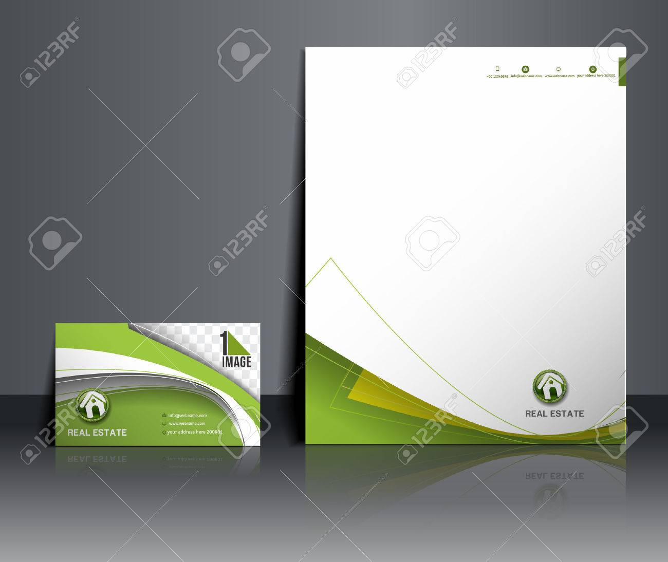 Real Estate Agent Corporate Identity Template Stock Vector - 38118412