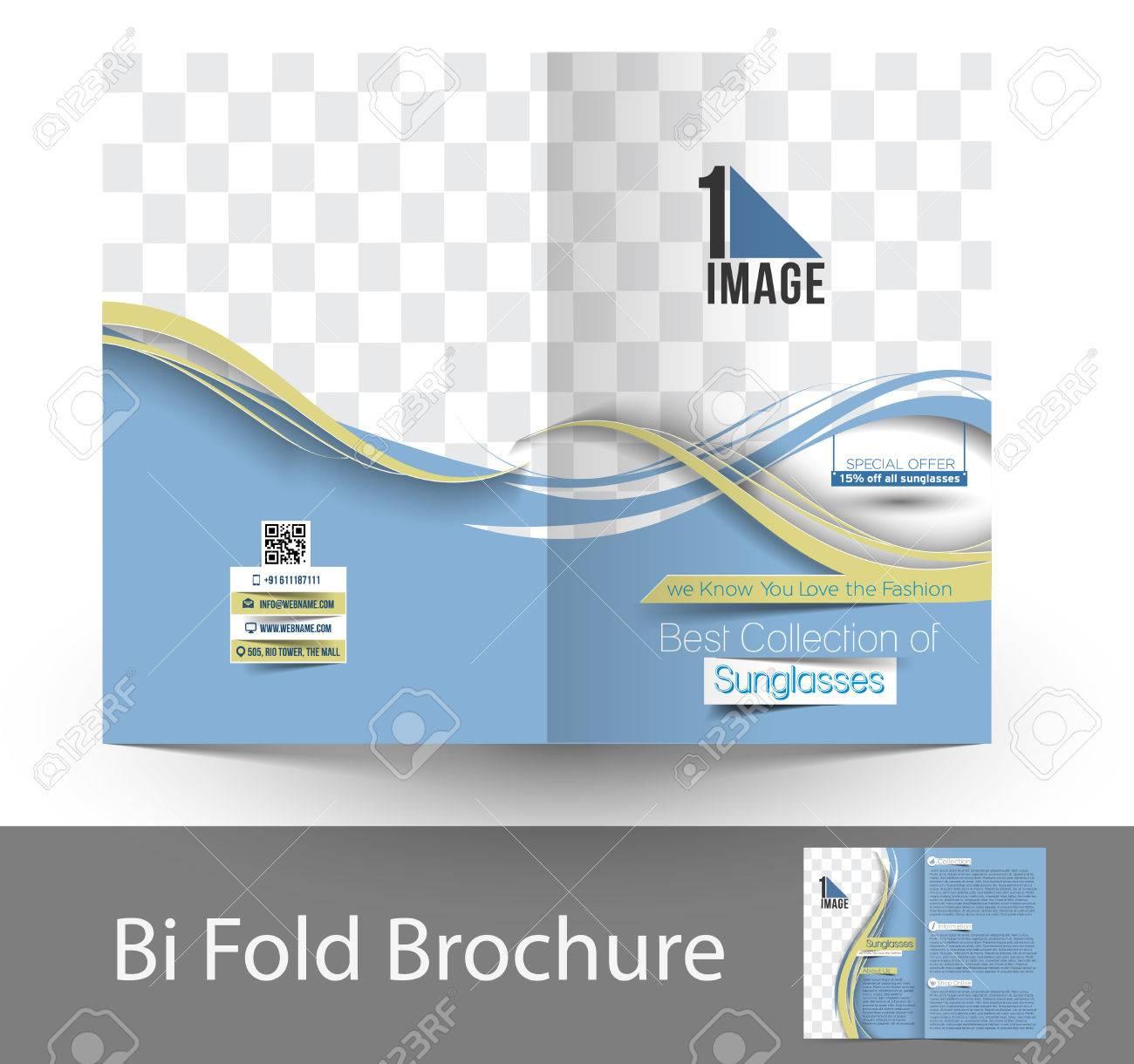 3a1048a70ca Optician Sunglasses Store Bi-Fold Mock up   Brochure Design Stock Vector -  38329138
