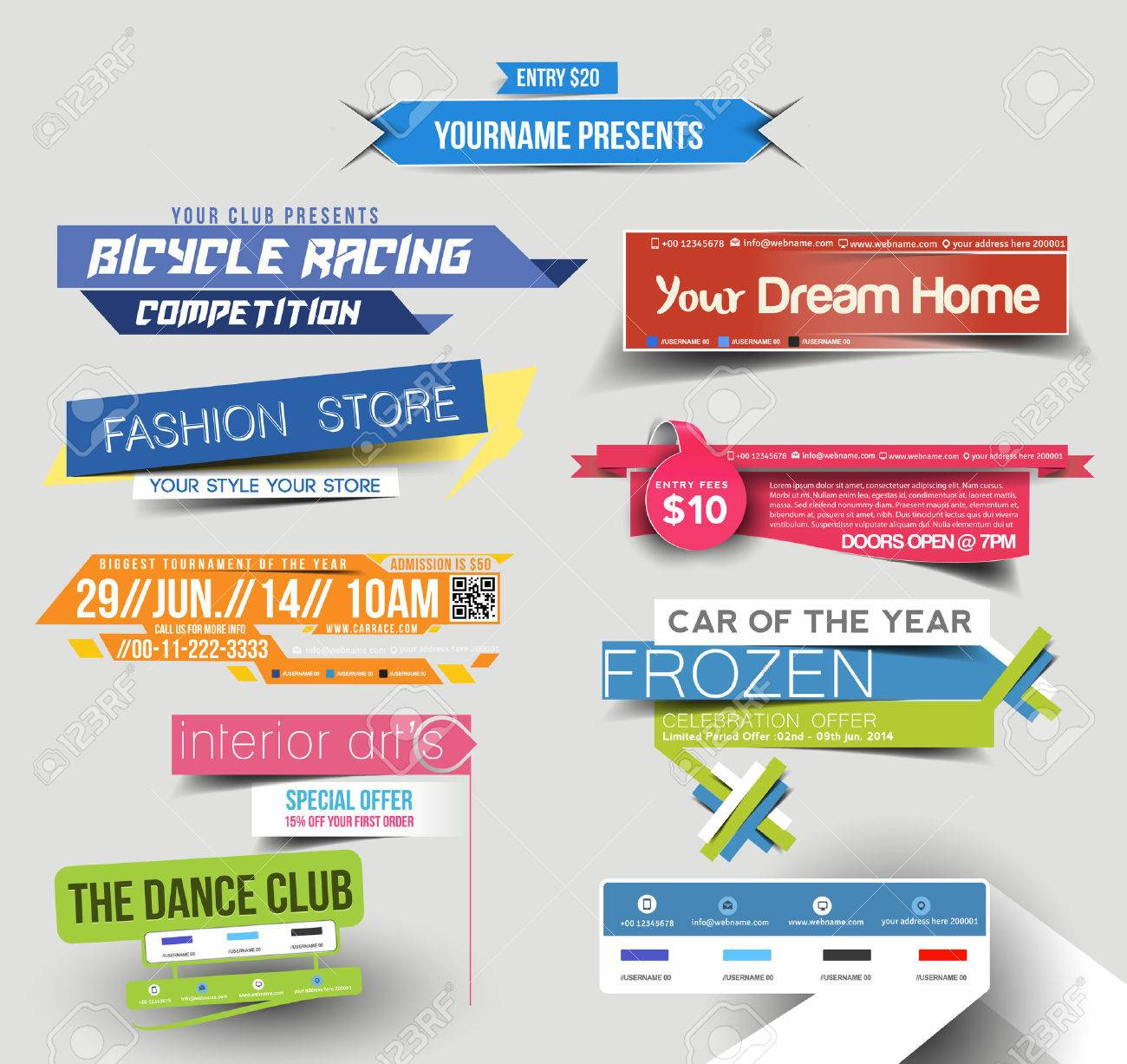 Collection of Sale Discount Styled Website Banner Stock Vector - 38329184