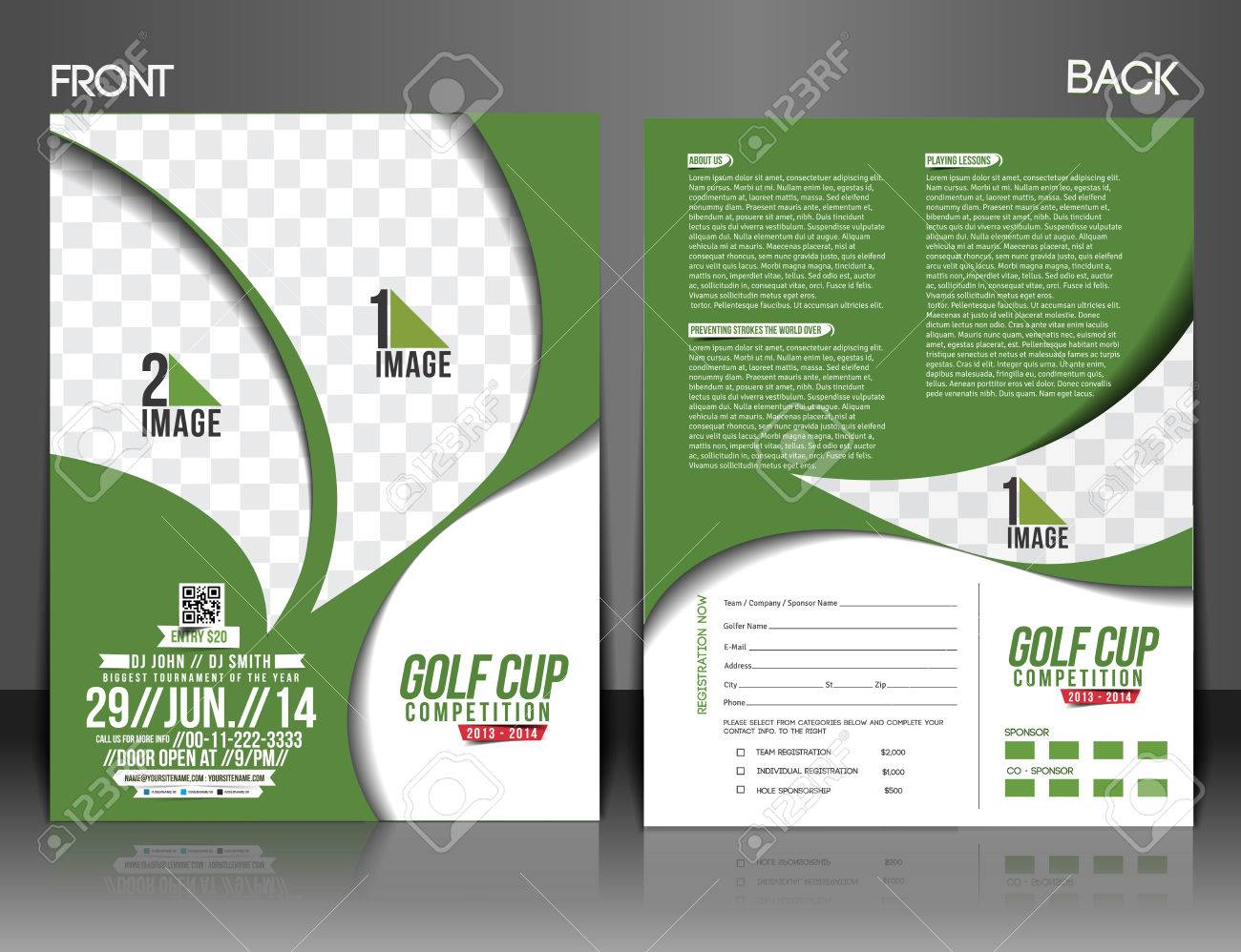 Golf Tournament Front U0026 Back Flyer Template Stock Vector   38329335