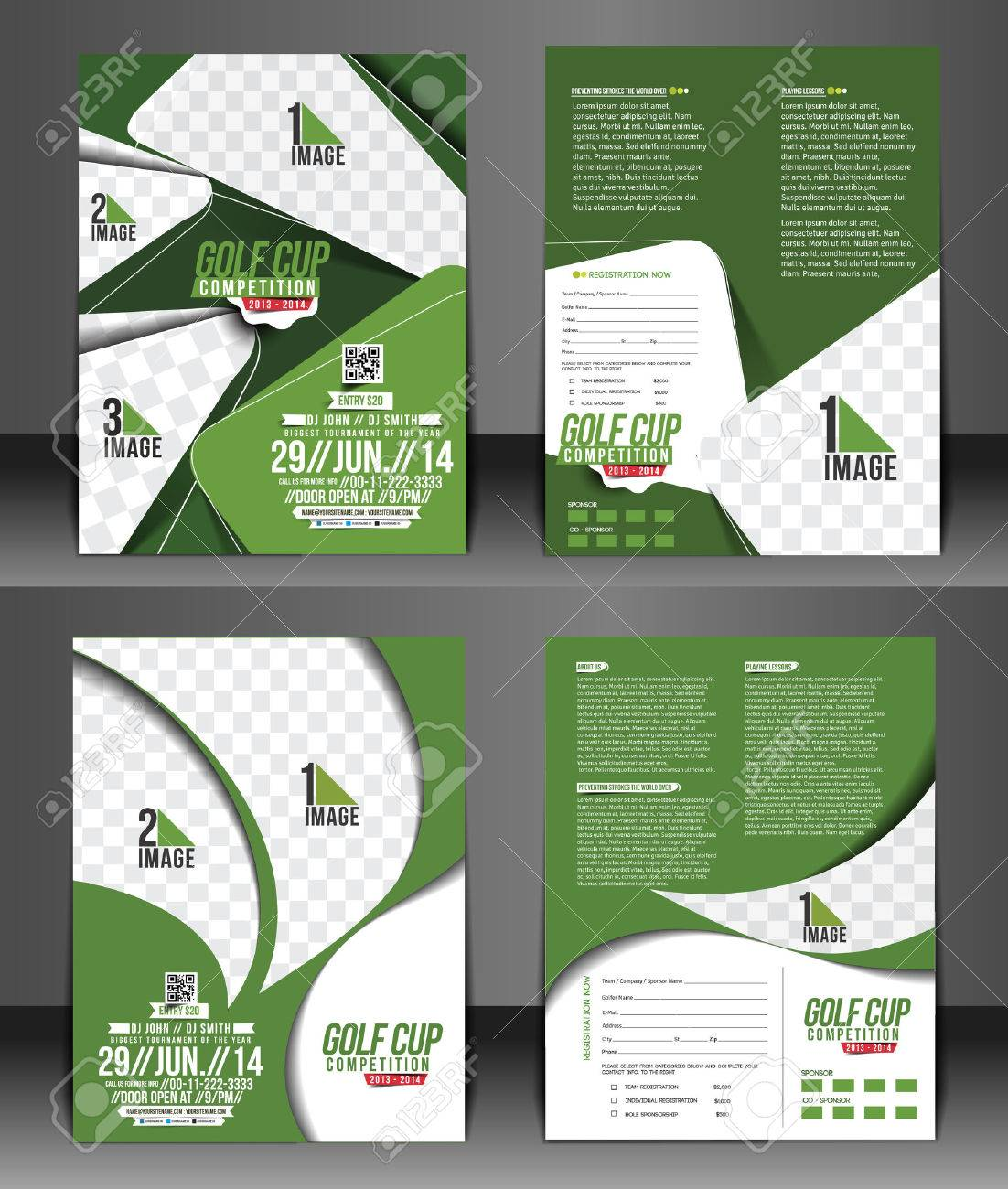 Set of Golf Tournament Front & Back Flyer Template Stock Vector - 38329356