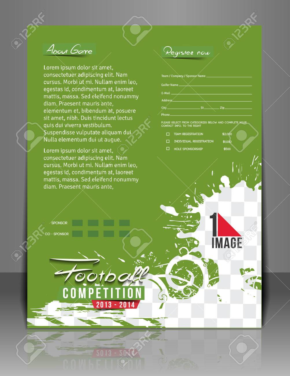 Football Competition Flyer Poster Template Royalty Free Cliparts