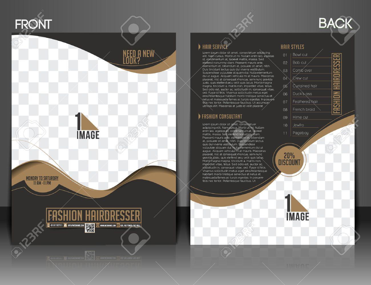 Fashion Hairdresser Front & Back Flyer & Poster Design. Stock Vector - 38330064