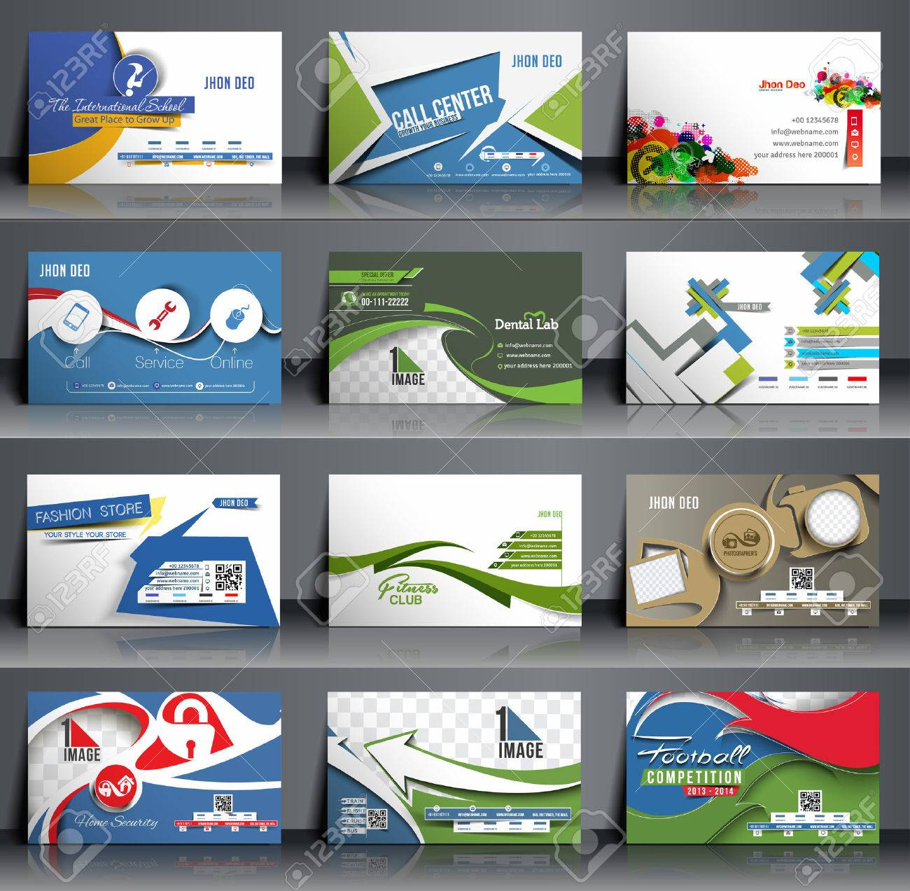 Mega Collection Business Card Template Design. Royalty Free Cliparts ...